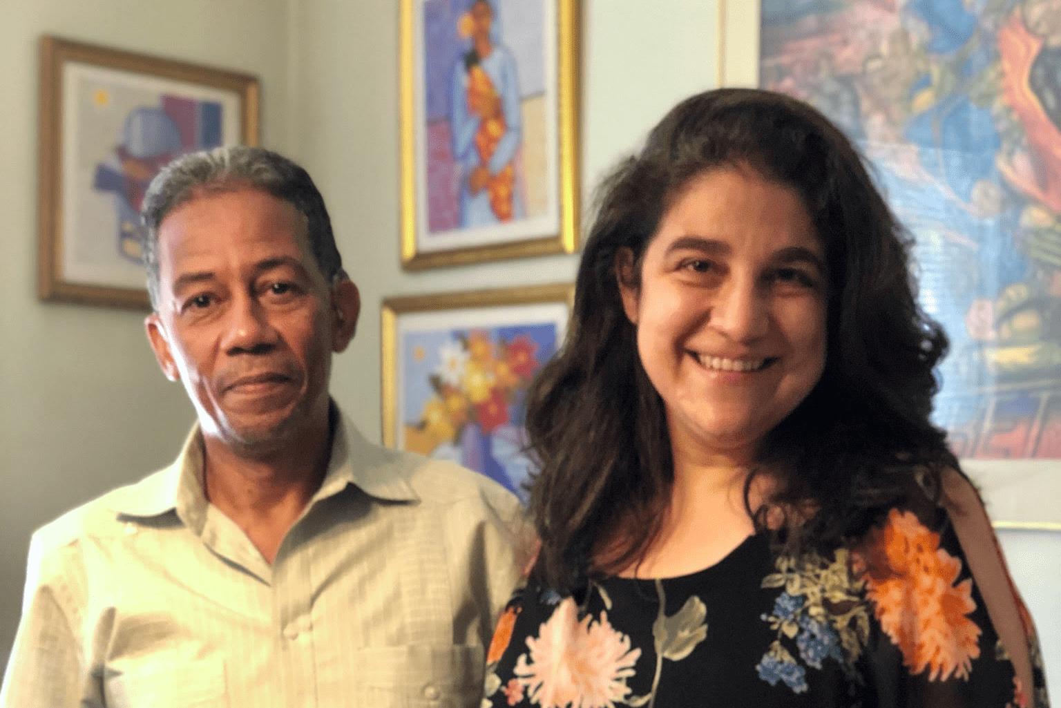 Angela Fernandez with Juan Villar, Principal of High School for Media and Communications